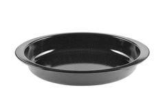 Черная изолированная тарелка сотейника Стоковые Изображения
