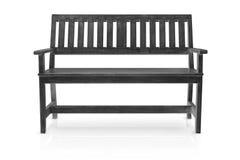 Черная изолированные деревянная скамья или длинный отрезок кресла стоковые фото