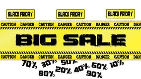 Черная иллюстрация вектора знамени продажи пятницы дорожного знака и желтых лент Стоковые Фото