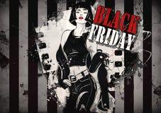 Черная иллюстрация grunge пятницы с девушкой моды Стоковое Изображение RF