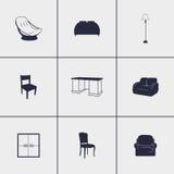 черная линия просто белизна икон мебели Стоковое фото RF