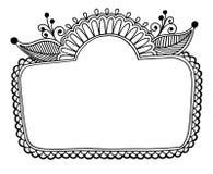 Черная линия рамка дизайна цветка искусства богато украшенная Стоковое Фото