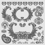 Черная линия собрание дизайна цветка искусства богато украшенное, Стоковая Фотография RF