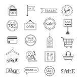 Черная линия установленные ПРОДАЖА и розничные значки бесплатная иллюстрация