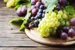 Черная и желтая виноградина на деревянном столе Стоковая Фотография