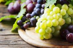 Черная и желтая виноградина на деревянном столе Стоковые Фото