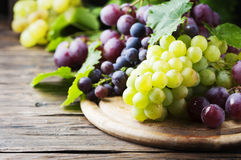 Черная и желтая виноградина на деревянном столе Стоковое Изображение