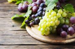 Черная и желтая виноградина на деревянном столе Стоковые Фотографии RF