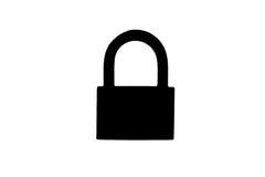 Черная иллюстрация значка знака padlock стоковые изображения