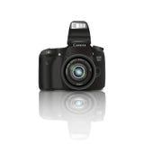 Черная камера с вспышкой на белой предпосылке Стоковые Изображения RF