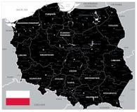 Черная карта Польши иллюстрация вектора