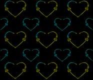 черная картина сердец безшовная Стоковое Фото