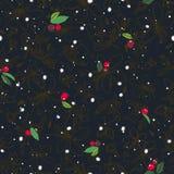 Черная картина с хлопь ягоды и снега иллюстрация штока