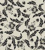 черная картина цветка безшовная Стоковое Фото