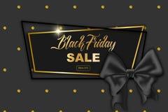 Черная карточка рекламы продажи пятницы, иллюстрация шелк Стоковые Изображения RF