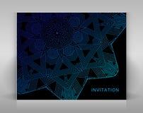 Черная карточка с геометрическим украшением Стоковые Фотографии RF