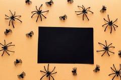 Черная карточка чистого листа бумаги с декоративными пауками на оранжевом backgro Стоковые Фотографии RF