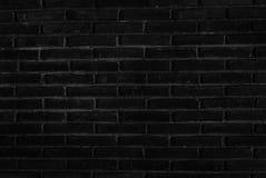 Черная кирпичная стена для произведения искусства предпосылки и дизайна Стоковая Фотография RF