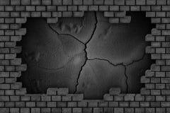 Черная кирпичная стена, загубленная каменная поверхность, предпосылка Стоковые Фотографии RF