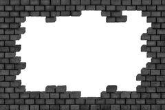 Черная кирпичная стена, загубленная каменная поверхность, предпосылка Стоковая Фотография RF