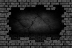 Черная кирпичная стена, загубленная каменная поверхность, предпосылка Стоковая Фотография