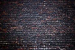 Черная кирпичная стена, темная предпосылка для дизайна Стоковые Изображения