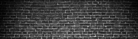 Черная кирпичная стена, широкая панорама как фон Стоковые Фото