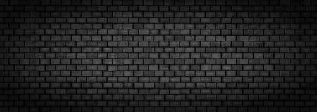 Черная кирпичная стена, широкая панорамная каменная поверхностная текстура Стоковое Изображение