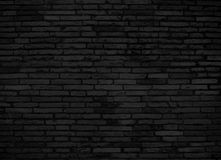 Черная кирпичная стена для предпосылки Стоковая Фотография