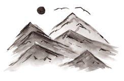 Черная китайская иллюстрация гор и птиц чернил бесплатная иллюстрация