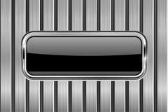 Черная кнопка прямоугольника на предпосылке металла Стоковое Изображение