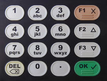 Черная кнопочная панель с номерами и письмами Стоковая Фотография RF