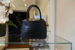 Черная кожаная сумка Стоковая Фотография
