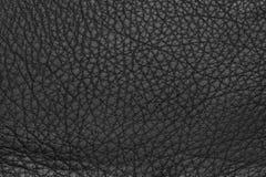 Черная кожаная grained предпосылка текстуры Стоковые Изображения RF