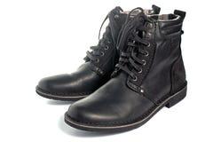 черная кожа ботинок Стоковое Фото