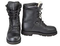 черная кожа ботинок Стоковые Фото