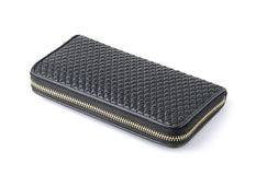 Черная кожа бумажника на белой предпосылке Стоковое Изображение RF