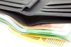 черная кожа евро замечает бумажник Стоковая Фотография RF