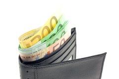 черная кожа евро замечает бумажник Стоковое фото RF