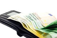 черная кожа евро замечает бумажник Стоковые Изображения