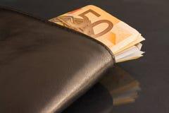 черная кожа евро замечает бумажник Стоковые Фото