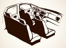 черная кожа интерьера автомобиля предпосылка рисуя флористический вектор травы стоковые изображения