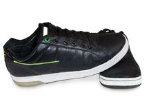 черная кожа обуви Стоковые Изображения