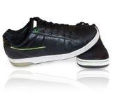 черная кожа обуви Стоковые Фото