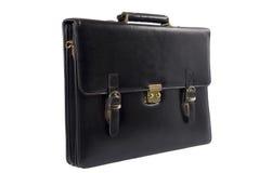 черная кожа портфеля над белизной Стоковое Изображение