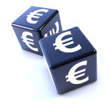 черная кость 3d 2 отмеченная с символом валюты евро Стоковая Фотография RF