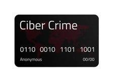 Черная кредитная карточка злодеяния кибер с картой мира и соединения выравниваются иллюстрация вектора