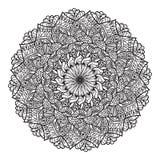 Черная круглая мандала линий на белой предпосылке Стоковая Фотография RF