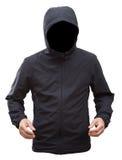 Черная куртка при руки клобука и человека изолированные на белом backgroun Стоковые Изображения