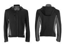 Черная куртка спорт зимы изолированная на белизне стоковая фотография